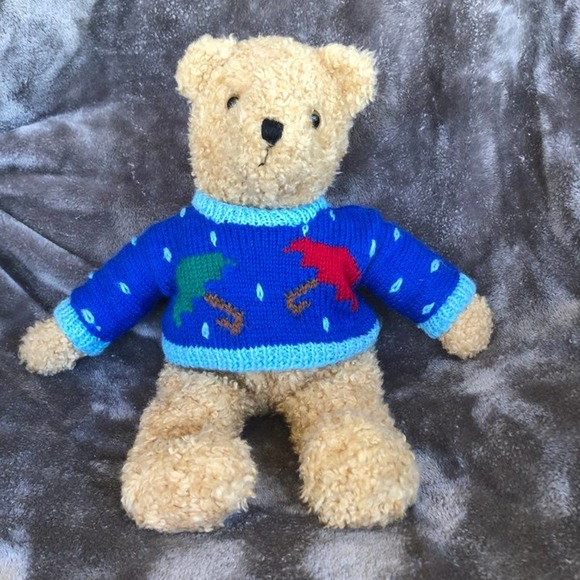 Vtg 1990 TY plush bear with sweater